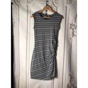 Athleta Gray Striped Ruched Tee Shirt Topanga Dres